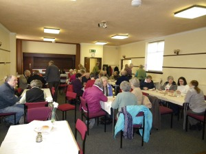 CAFOD supporters at St John's Burnley tuck into their soup.