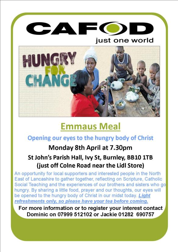 Emmaus Meal Poster - Monday 8th April