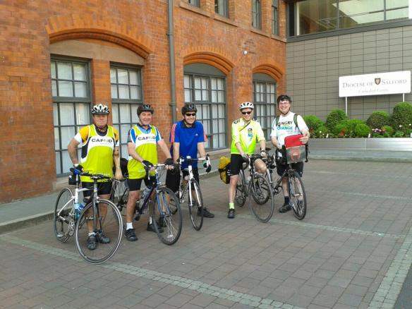Fred & Mark with riders from the Diocese of Salford ready for the off!