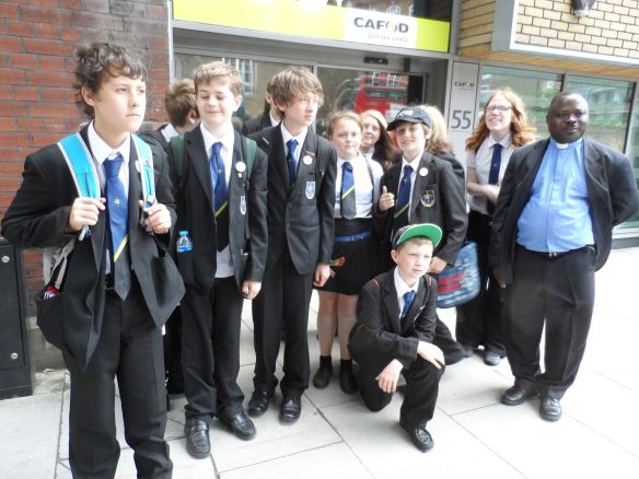 Holy Family pupils outside CAFOD's Romero House in London