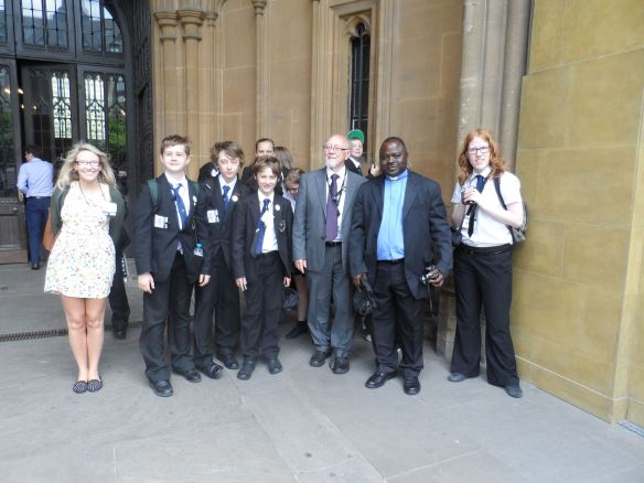 Holy Family pupils outside the Houses of Parliament with their MP, Jim Dobbin & Fr Raymond