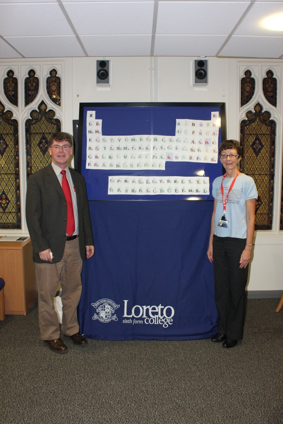 Ged Edwards (CAFOD Diocesan Manager) & Pauline Wynn (Loreto College Chemistry Department) with the stitched Periodic Table