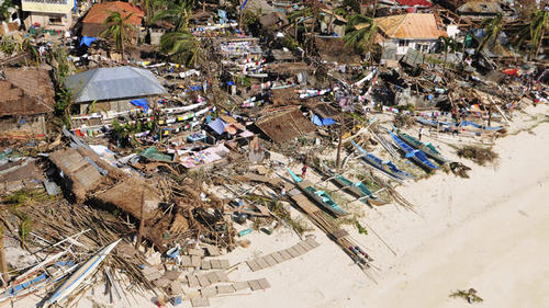 Devastated coast in the Philippines