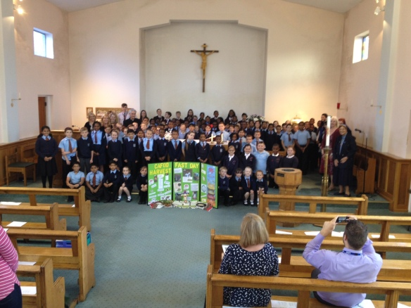Pupils from four local schools at the Harvest Fast Day Mass