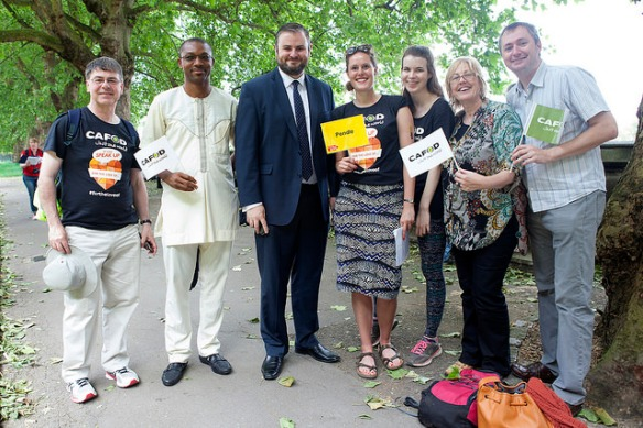 Andrew Stephenson MP for Pendle with CAFOD Salford campaigners