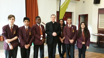 St Peter's pupils with Bishop John