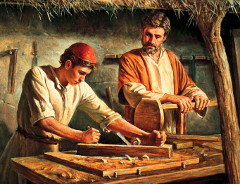 St Joseph and Jesus as a child working as carpenters