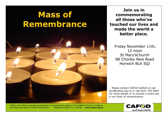Advert for the memorial mass